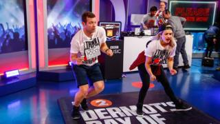 Dermot O'Leary and Rita Ora dancing