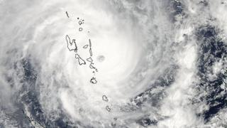 Satellite view of Vanuatu covered by Cyclone Pam