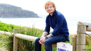 Ed Sheeran on Summer Bay beach