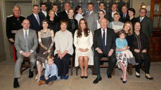 The Duchess of Cambridge (centre) with the Downton Abbey cast