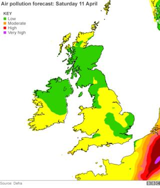 Air pollution forecast for Saturday