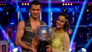 Caroline Flack and Pasha Kovalev celebrate winning Strictly Come Dancing 2014