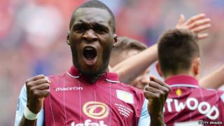 Christian Benteke of Aston Villa celebrating