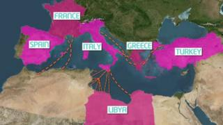 Map of southern Europe and north Africa showing migrant routes