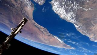 Flying over the Gulf of Aden and Horn of Africa