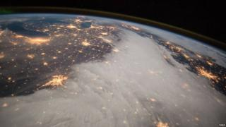 View from ISS of Great Lakes and Central US
