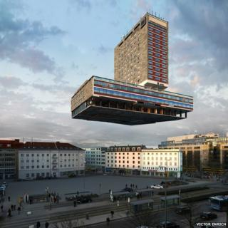 Photograph of hotel altered looking like it is floating in the sky