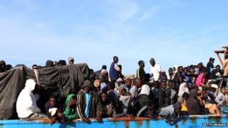 A Libyan coastguard boat carrying around 500 migrants