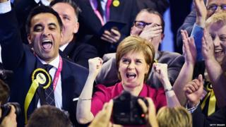 Nicola Sturgeon celebrates
