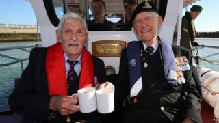 Dunkirk veterans Michael Bentall and Garth Wright on board the Little Ship the Princess Freda