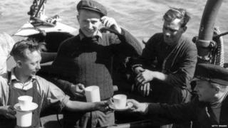 "The crew of the London based tug ""Sunvill"" one of the many small craft which took part in the evacuation of British and allied troops from Dunkirk"