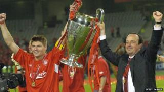 Benitez with Steven Gerrard and the Champions League trophy.