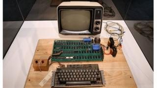 An Apple I computer on display in a museum
