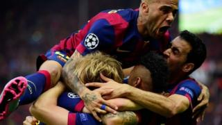 Barcelona's Rakitic celebrates with teammates after his first goal against Juventus
