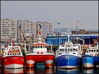 A flotilla of French fishing boats blockade the Channel port of Boulogne-sur-Mer