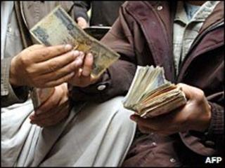 File photo of Afghan money changer in Kabul