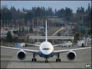 Boeing's Dreamliner on runway
