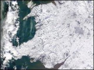 Image of icy Wales from the Nasa satellite Terra, issued by the University of Dundee