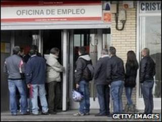 People in line at a government employment office in Madrid
