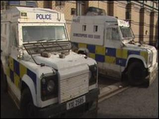 Police vehicles were damaged in the attack