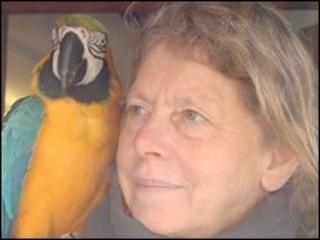 Animal Aid founder Sue Vidamour and a parrot