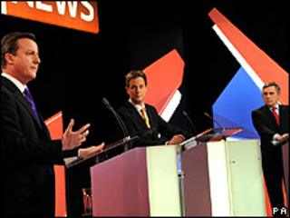 David Cameron, Nick Clegg and Gordon Brown taking part in the debate