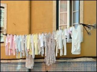 A washing line outside a house in Lisbon