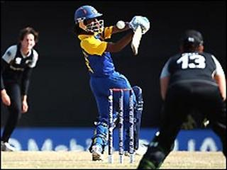 Chamari Athapaththu of Sri Lanka in action against New Zealand during the ICC T20 Women's World Cup