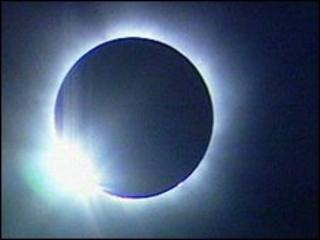 Flash of light in solar eclipse