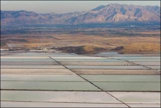 GSL Minerals evaporation ponds and the production plant in Weber County, Utah.