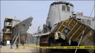 The wreckage of the naval vessel Cheonan, 20 May, South Korea