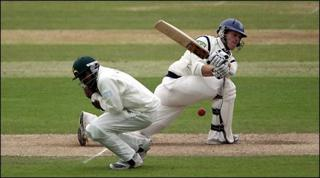 Jimmy Adams of Hampshire in action against Nottinghamshire