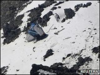 Wreckage from the Pamir Airways plane on the mountainside on 20/5/2010