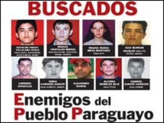 "A poster showing the mugshots of Paraguay's ""most wanted"""