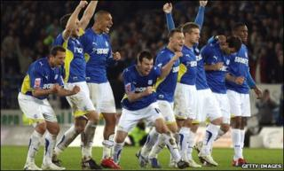 Cardiff City celebrate play-off semi-final win over Leicester City