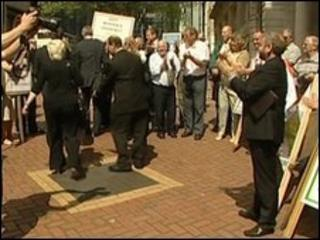 People outside the High Court in Birmingham