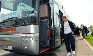 Cardiff City striker Michael Chopra setting off for Wembley