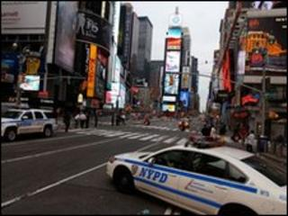 Police cars in New York's Times Square early on 2 May 2010