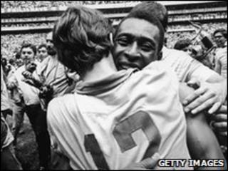 Pele celebrates Brazil's 1970 World Cup triumph