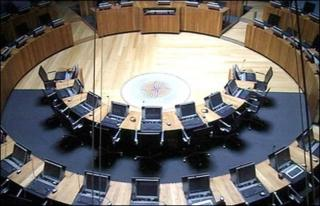 The Senedd debating chamber of the Welsh assembly