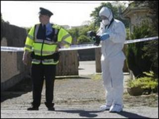 Garda officer and forensic expert at the scene of the bomb find