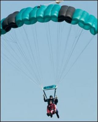Derry mayor Paul Fleming in mid-air