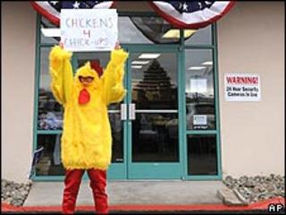 Activist in chicken costume
