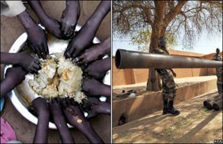 A meal in a displacement camp in Sudan's Darfur region (left). Soldiers in Niger after a coup in February 2010 (right)