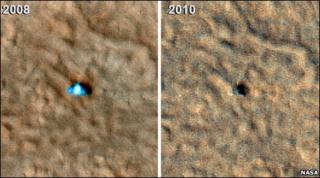 Before and after Phoenix images (Nasa)