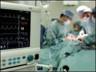 Doctors in an operating theatre