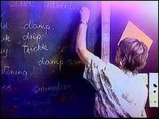 Teacher writing on blackboard