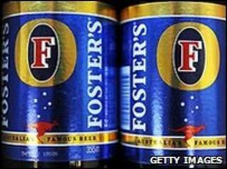 Cans of Foster's beer