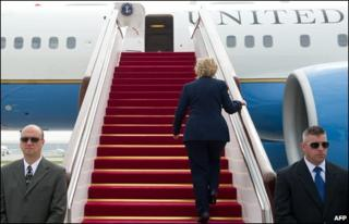 US Secretary of State Hillary Clinton boards her aircraft prior to departing from Beijing Capital International Airport on 26 May 2010
