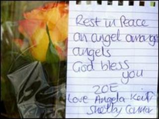 Tribute left near spot where Zoe Nelson's body was found in Wishaw